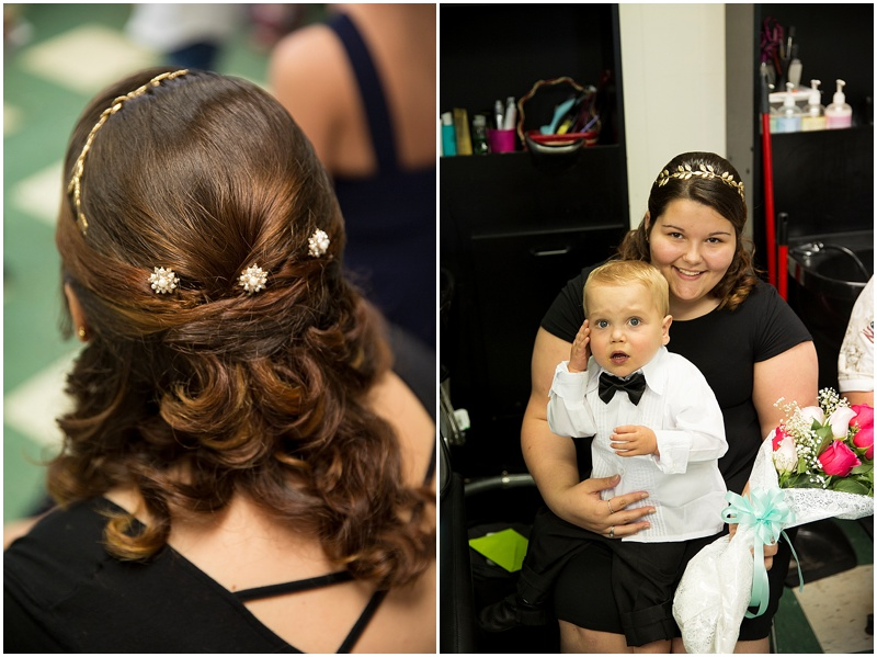 Taylors gorgeous updo was done by her mom Anna. Owner of Snip and Trim Of bowling green, Va