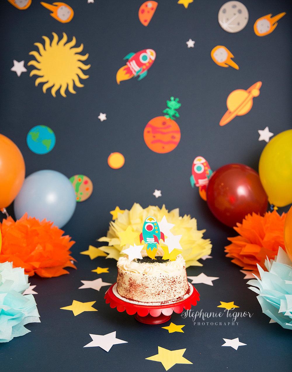 Stephanie Tignor Photography | Fredericksburg VA Cake Smash Photographer | Warrenton VA Cake Smash Photographer | Stafford VA Cake Smash Photographer | Cake Smash Photographer | Space Themed Cake Smash