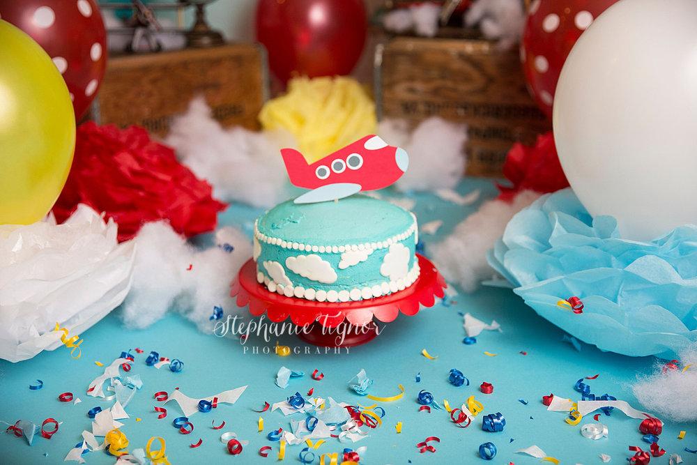 Stephanie Tignor Photography | Fredericksburg VA Cake Smash Photographer | Warrenton VA Cake Smash Photographer | Stafford VA Cake Smash Photographer | Cake Smash Photographer | Travel airplane inspired cake smash