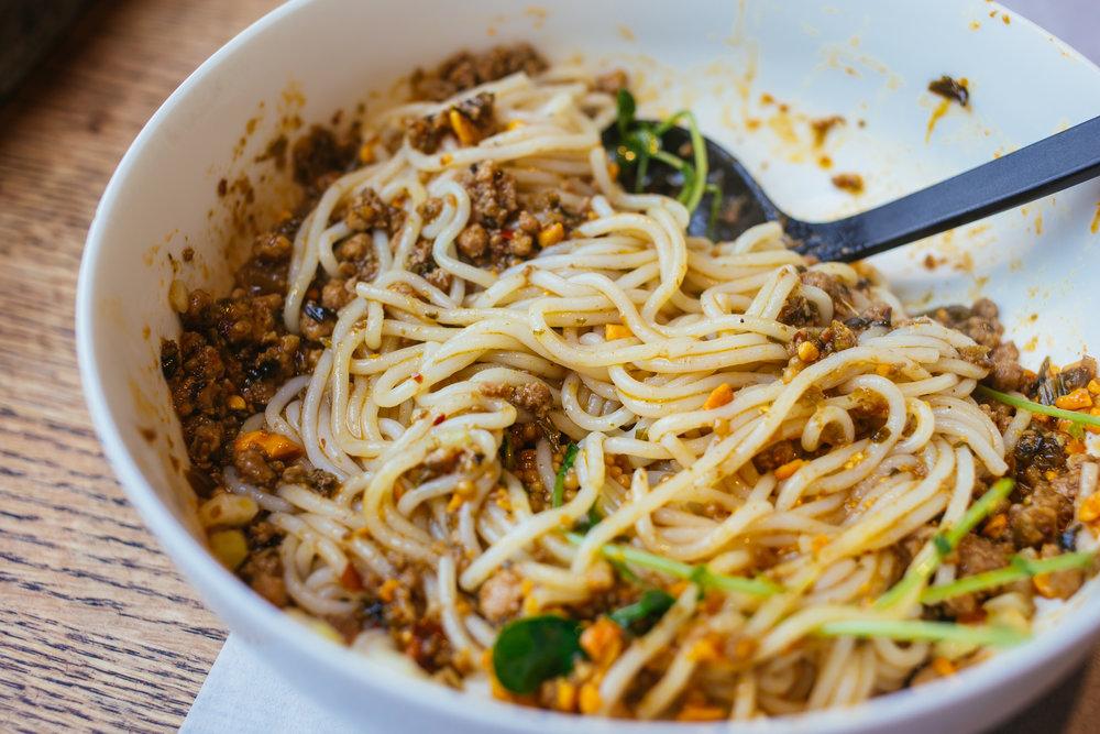 Mala dan dan mixian at Little Tong Noodle Shop