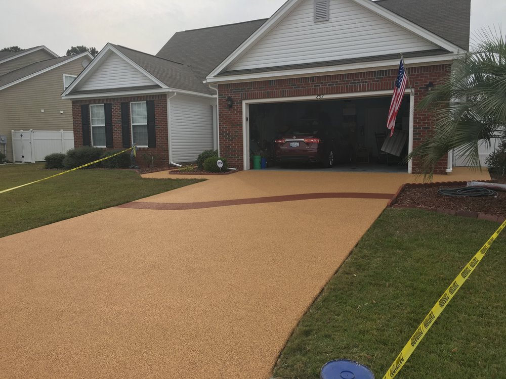 Beautiful driveway with new rubber surface