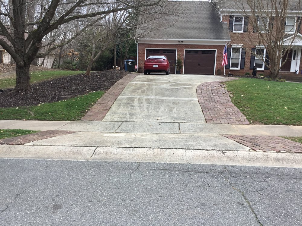 Before picture of driveway in Matthews, NC
