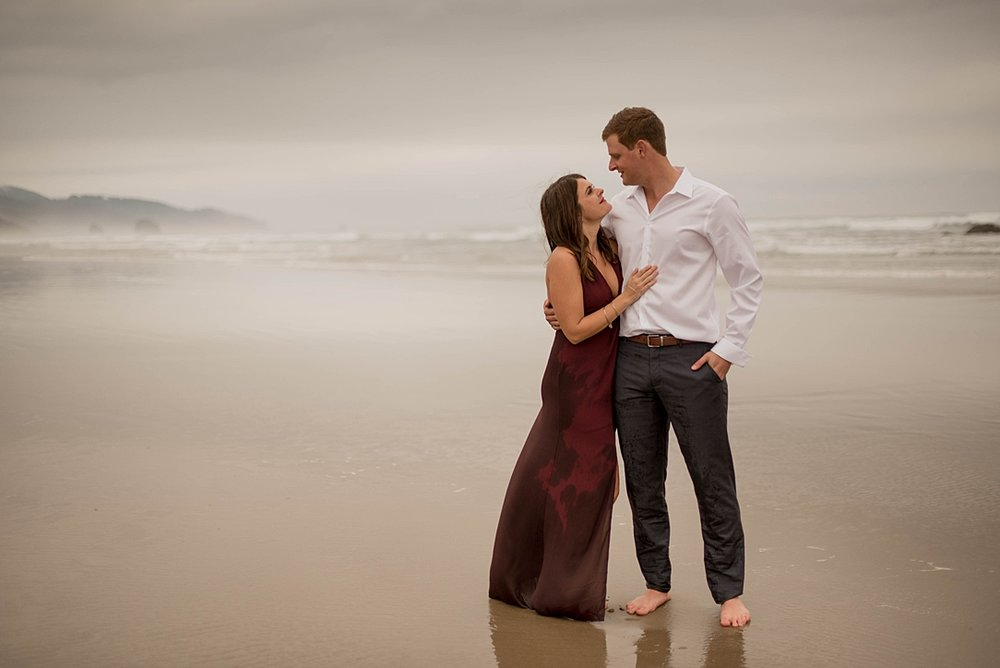 dreamy foggy cannon beach oregon engagement shoot