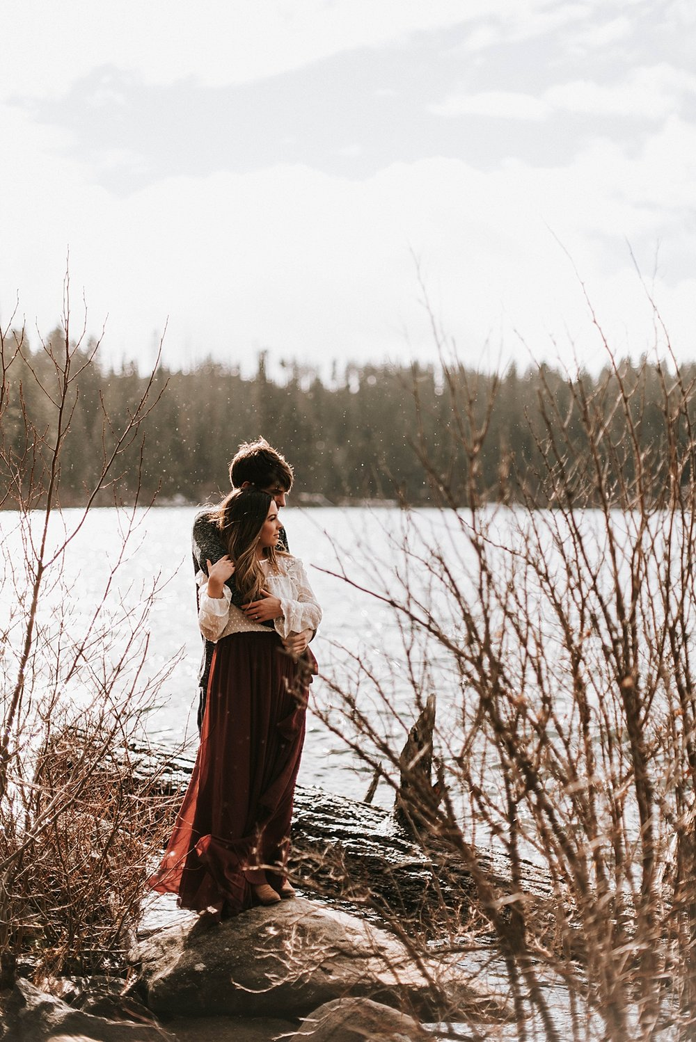 winter lakeside engagement