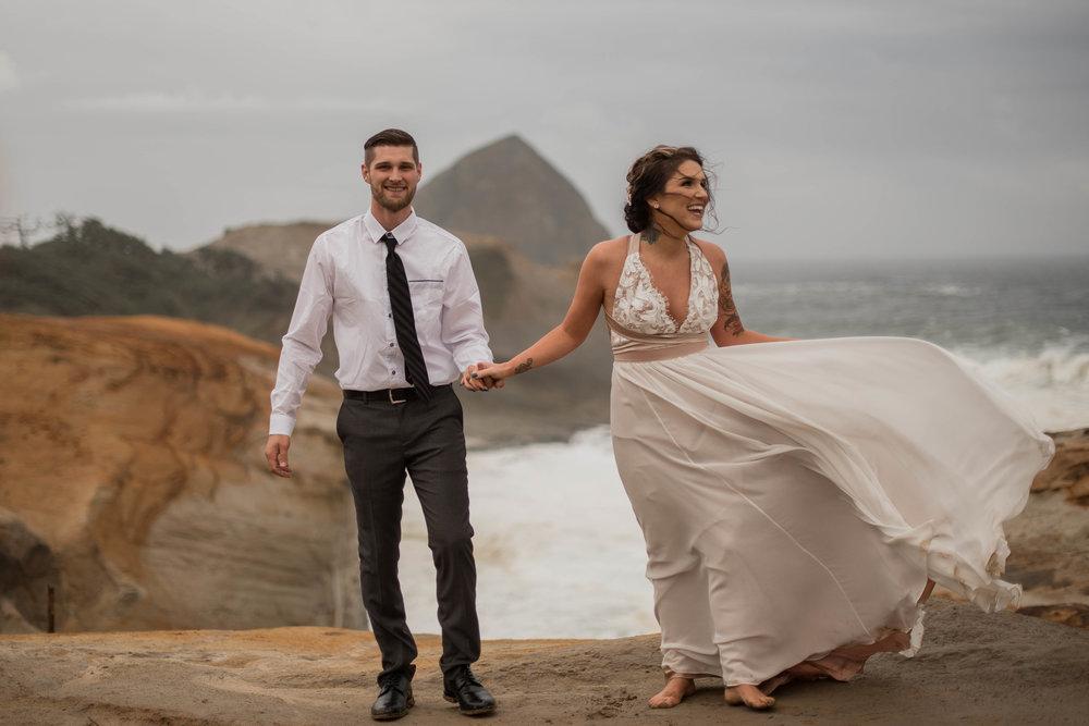 windy oregon coast elopement