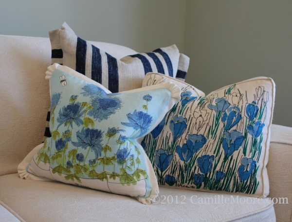 Custom Pillows made from Antique French Ticking & Vera Neumann Dish Towels