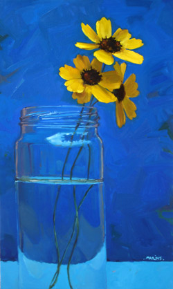 "Painting by Carol Marine, ""3 Yellow Wildflowers"""