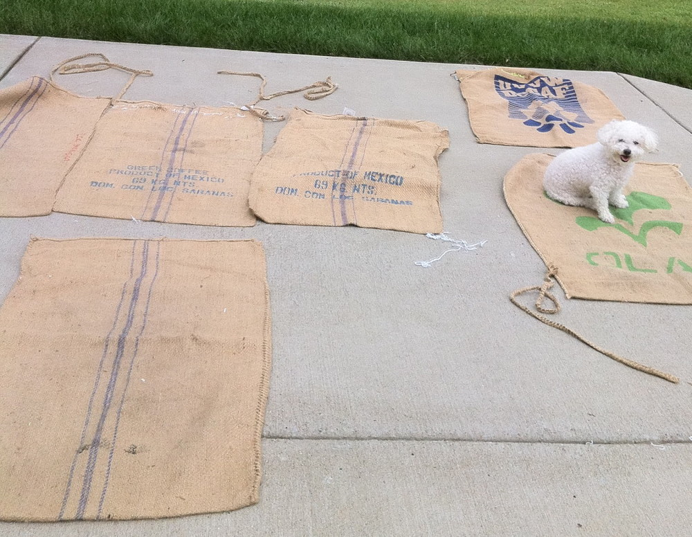 Preparing Coffee Sacks for Roman Shades, Lucy chose her favorite Sack