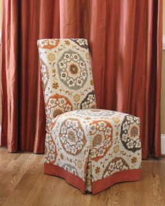Parson Chair Slipcovers with Contrast Banding