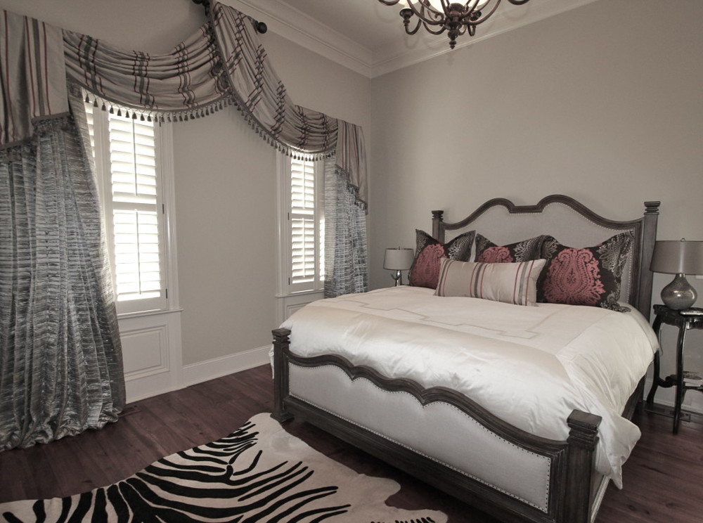 Silk Striped Swag with Fringe, Silk Draperies, Shams & Silk Pillow