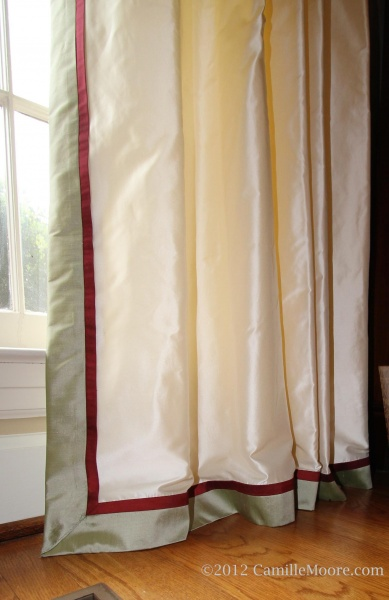 Silk Draperies with 1″ Break on Floor