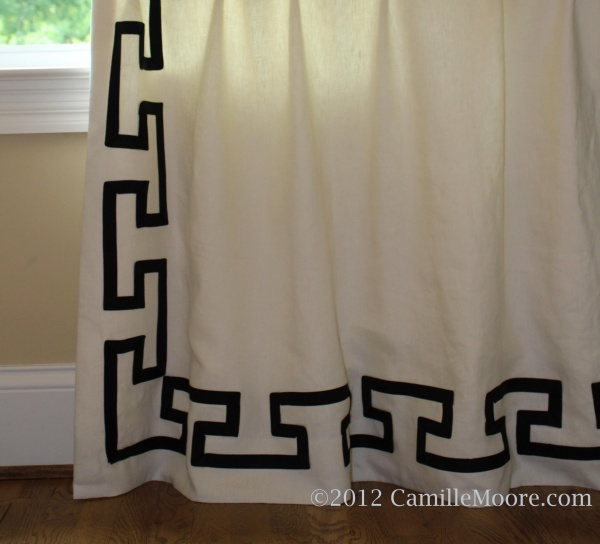 Celtic Banded Linen Curtains, Just Touching Floor. Design by Camille Moore, Workroom: Camille Moore Window Treatments