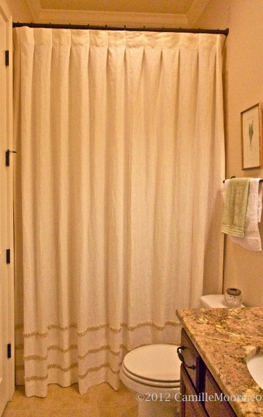 Shower Curtain with Inverted Box Pleats and Silk Rouching, Design by Camille Moore
