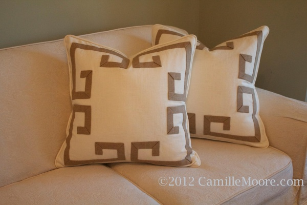 Linen Pillows with Celtic Banding, Design by Camille Moore
