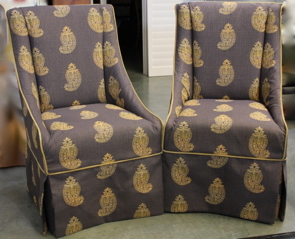 Slipcovers for Parson Chairs. Design: Dana Goodman, Workroom: Camille Moore Window Treatments & Custom Bedding