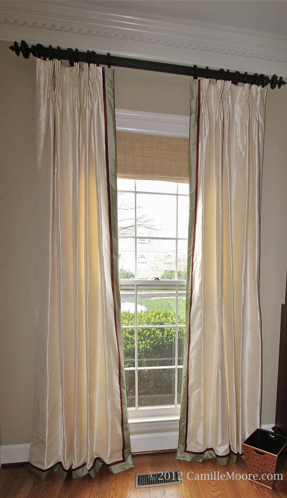 Double Banded Silk Curtains