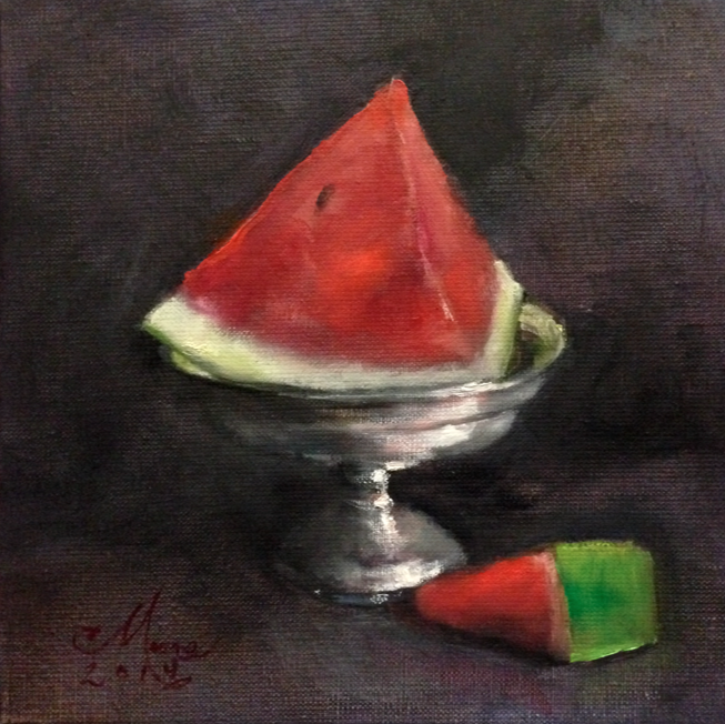 "WATERMELON IN SILVER COMPOTE, 8X8"", OIL ON LINEN, BY CAMILLE MOORE"