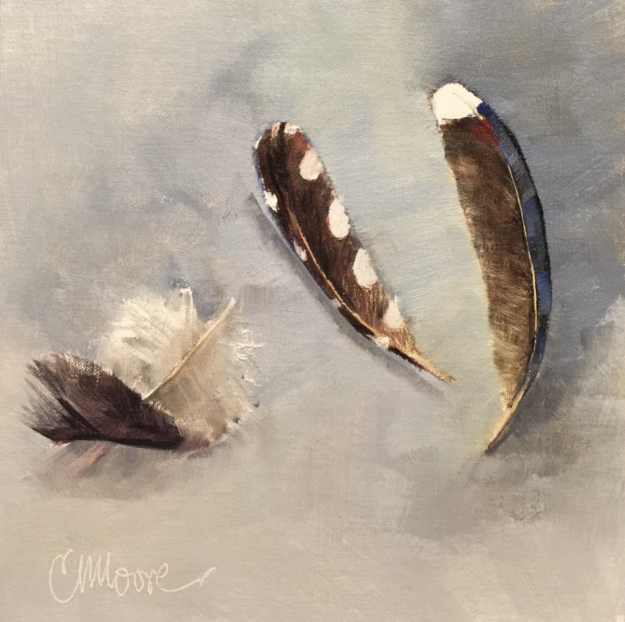 "FEATHERS THREE, 8X8"", OIL ON LINEN, 2015, BY CAMILLE MOORE"