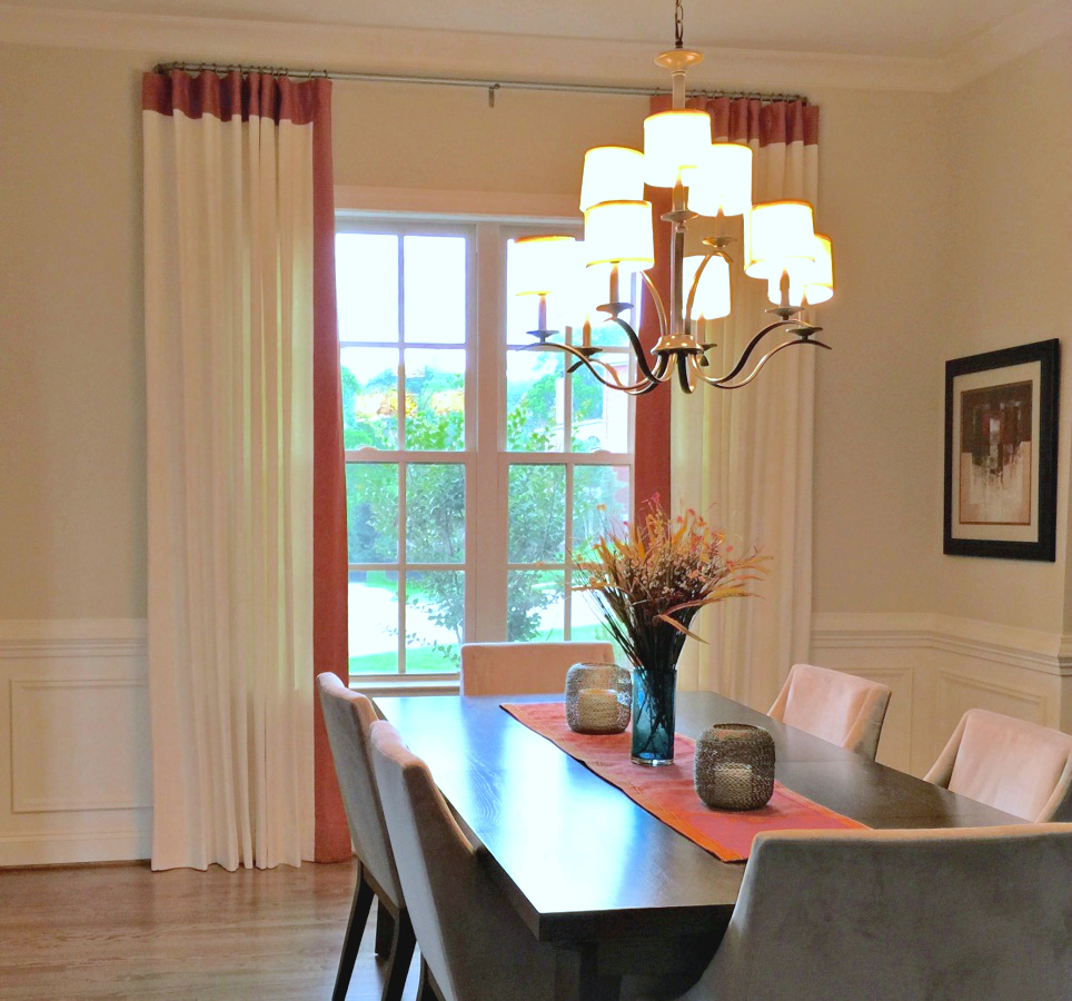 Linen Curtains with Custom Banding, Designer: Andria Fromm, Workroom & Photo: Camille Moore Interiors