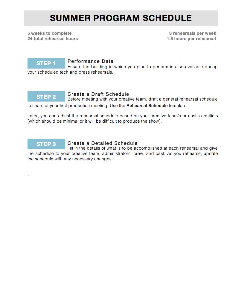Summer Development Schedule -