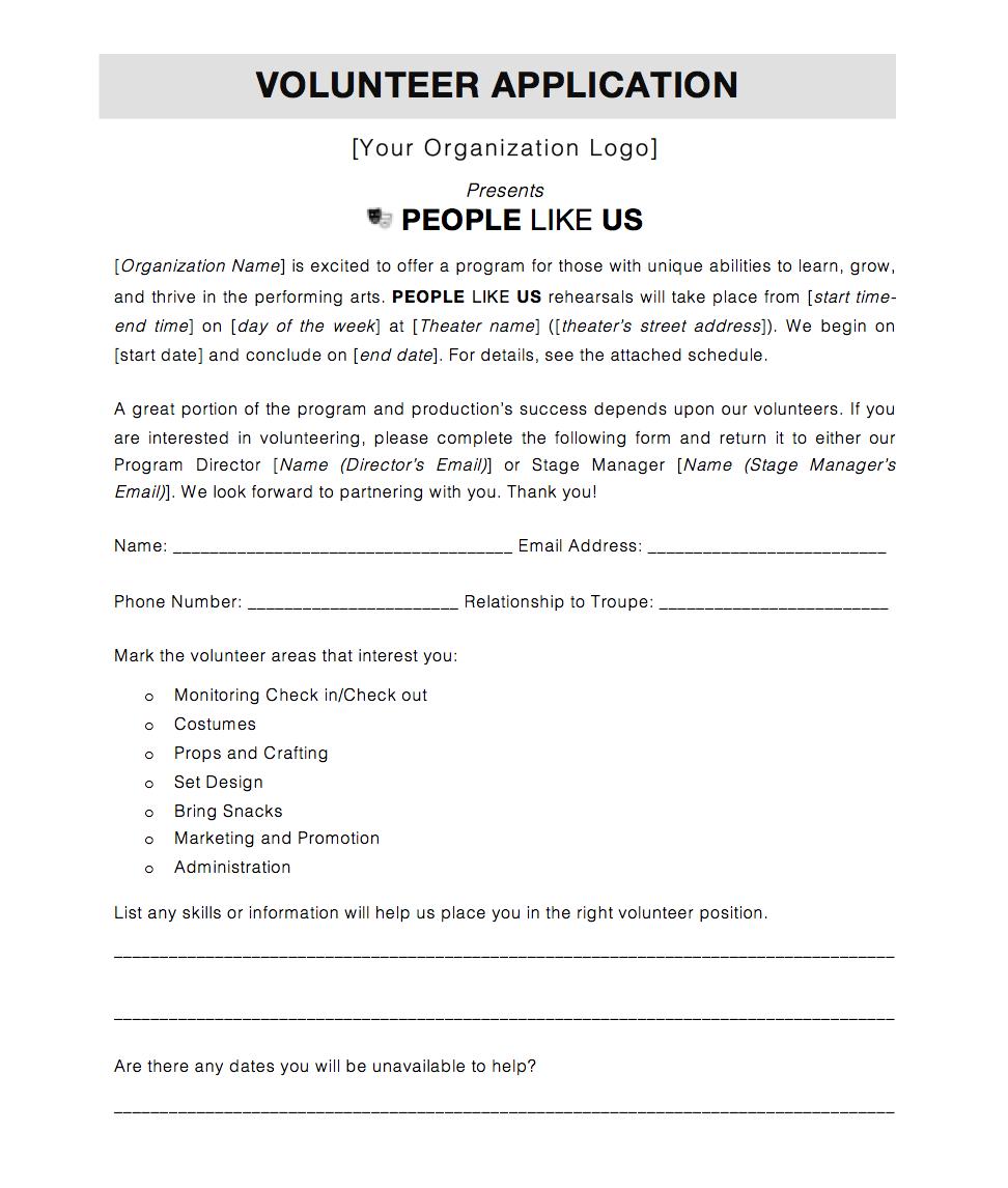Volunteer Application -