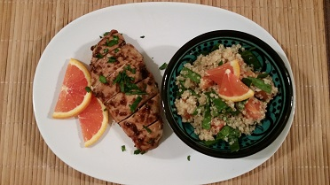 Moroccan-inspired citrus-quinoa salad and fig infused chicken.