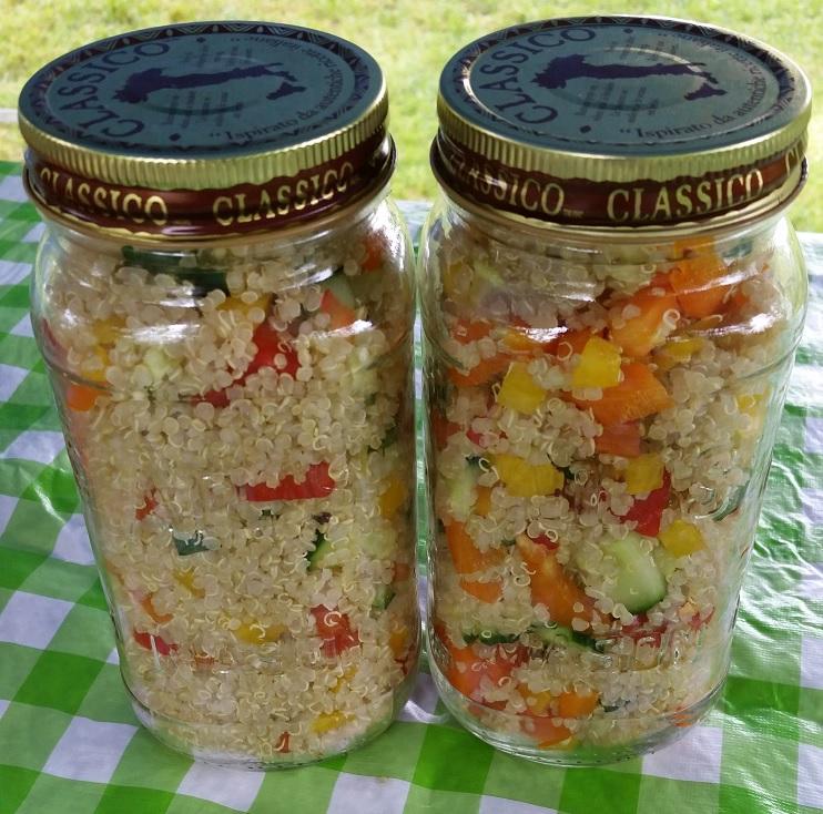 Quinoa salad in mason jars