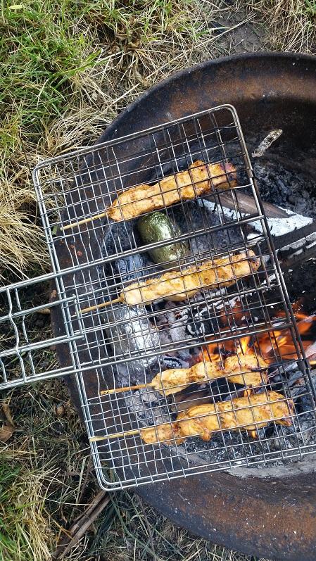 Kebab grilling & potato baking