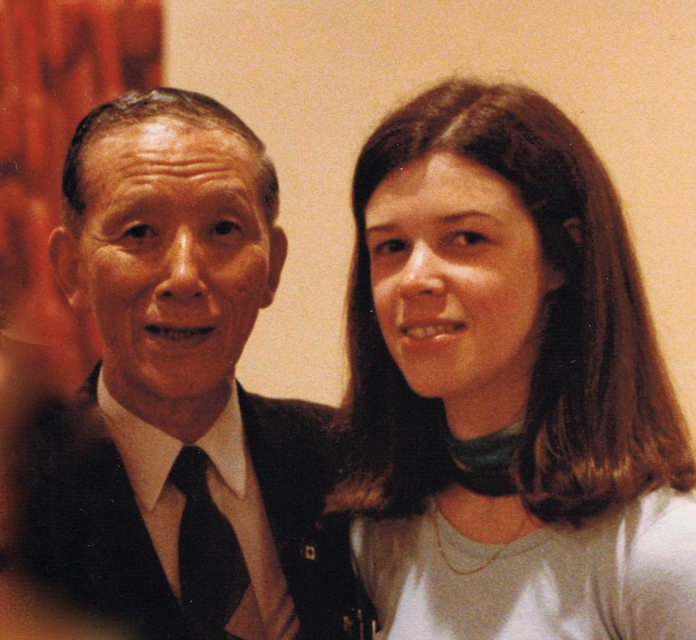 Joanne with Dr. Suzuki at the Suzuki World Convention in Edmonton, Canada, 1985
