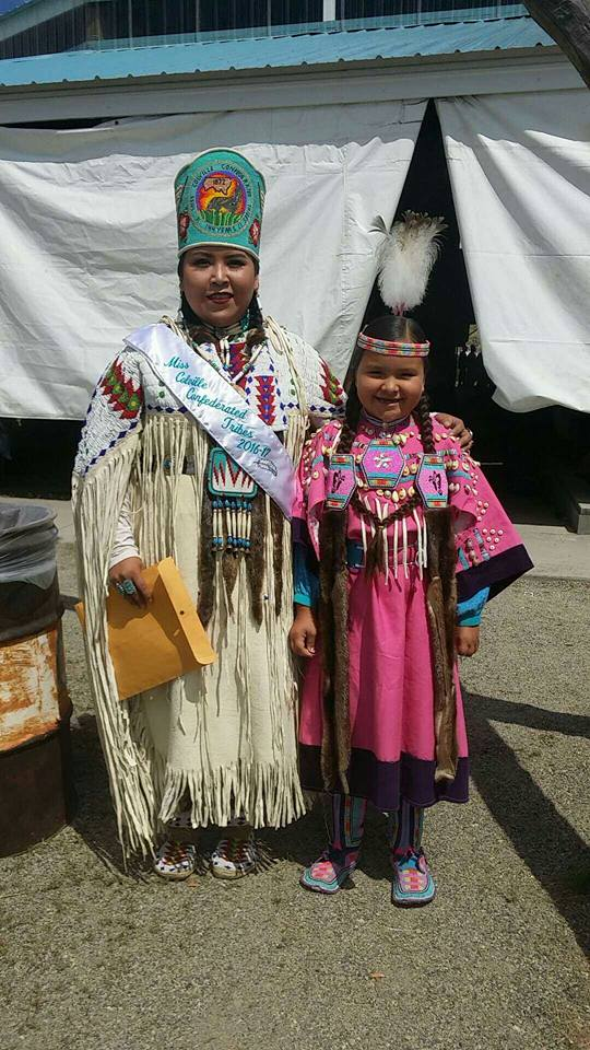 2016-2017 Miss Colville Confederated Tribes, Shundina Nanamkin-Spencer with Arianna Bear Medicine, Colville Tribe & Blackfeet Nation Youth.