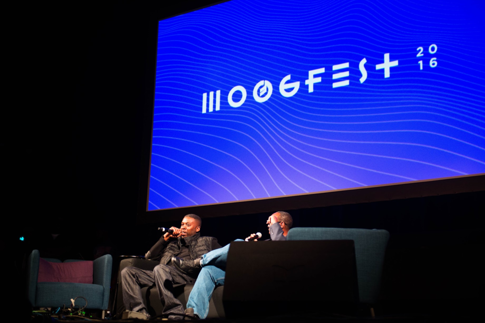 Pictured: GZA (left) Mark Anthony Neil (right) at Time Traveling with Hip Hop - Discussing science's role in Hip Hop and modern education. Photo Courtesy of Moogfest/Magnum PR