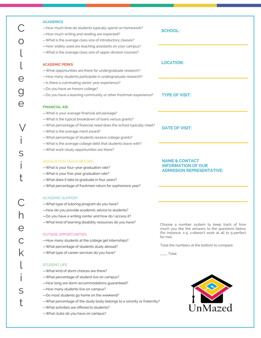 College Visit Checklist Pic