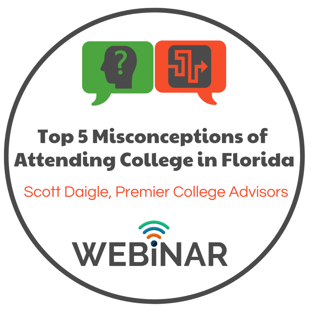 Scott Daigle, college consultant from Premier College Advisors, speaks on the top misconceptions of Florida admissions: 529, 2+2, Early & Summer Admissions, and much more!