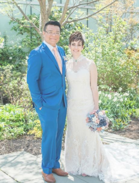 #ferrebride Anallise wearing a Maggie Sottero dress with a custom neckline, where we added matching lace all the way up.