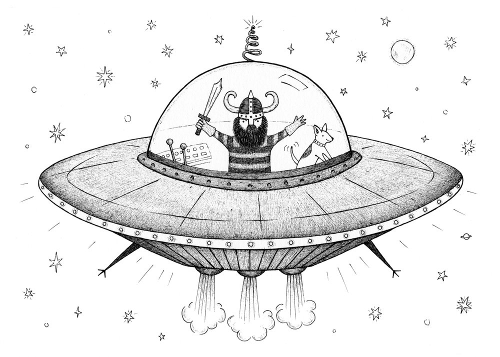 viking in a flying saucer