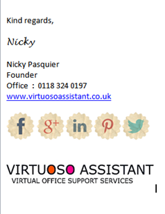 Virtuoso Assistant Outlook signature: online virtual PAs