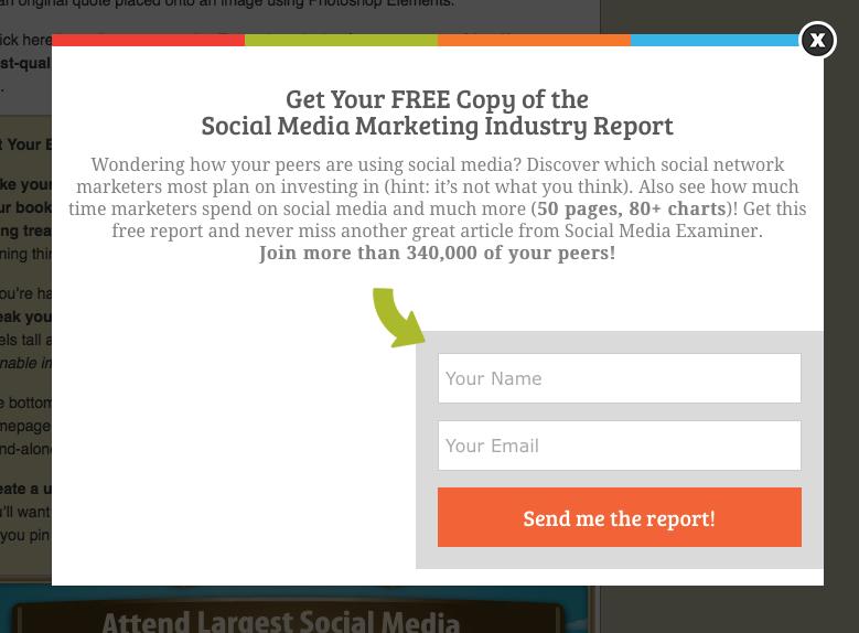 Social Media Examiner pop-up