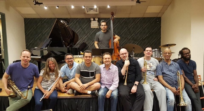 Memo Acevedo's Manhattan Bridges Orchestra after a rehearsal (Memo is below center).