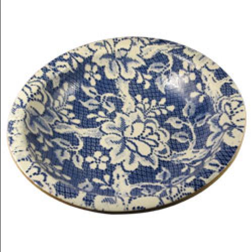 Terrafirma Large Serving Bowl, Fleur De Lis Cobalt