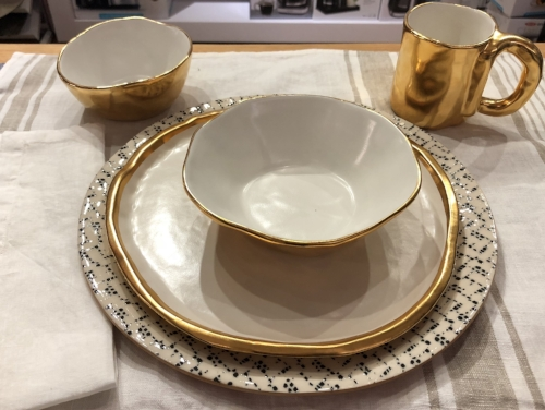 "OUR FULL PLACE SETTING - Motes Doggett small bowl, dinner plate, large bowl, and mug - Terrafirma Ceramics black ""Maze"" charger - Blue Pheasant white linen napkin"