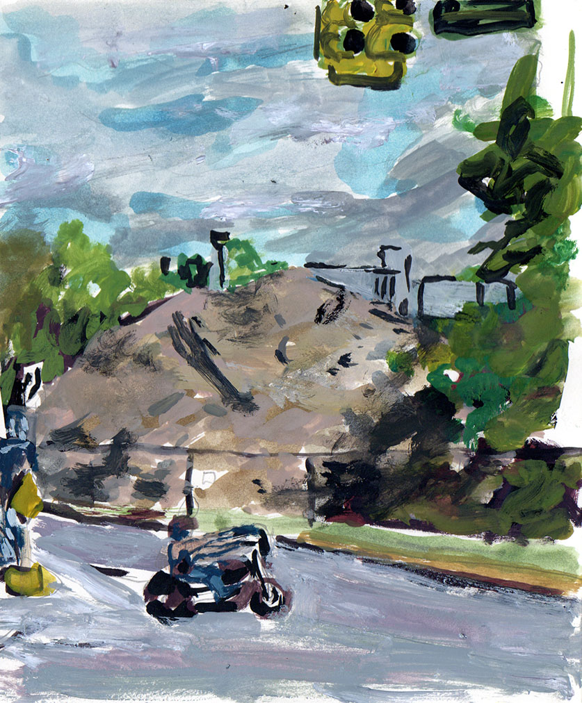 """Dig Site 1: Rosa L. Parks Boulevard , gouache on paper, 7""""x5"""", 2016"""