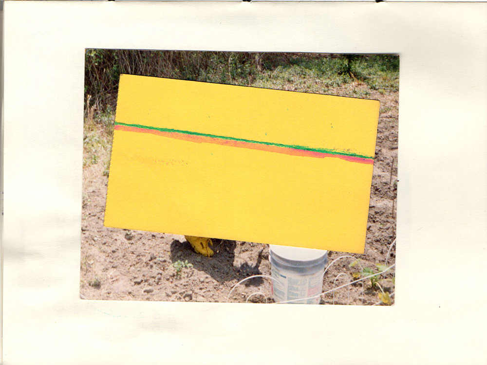 from  Schemata for a Dig,  yellow paper and colored pencil on found photograph, 2016