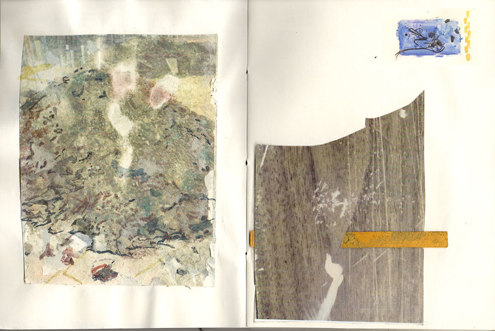 from  Schemata for a Dig,  watercolor on xerox transfer and collage page with photocopy, bark rubbing, marker, and paper scraps, 2016