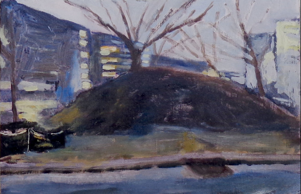 "Love Circle Mound  A Nashville mound that existed a year ago in West Nashville near a place known as Love Circle. Now there are townhouses, most still for sale as of winter 2019. Oil on wood, 6""x8"", 2018"