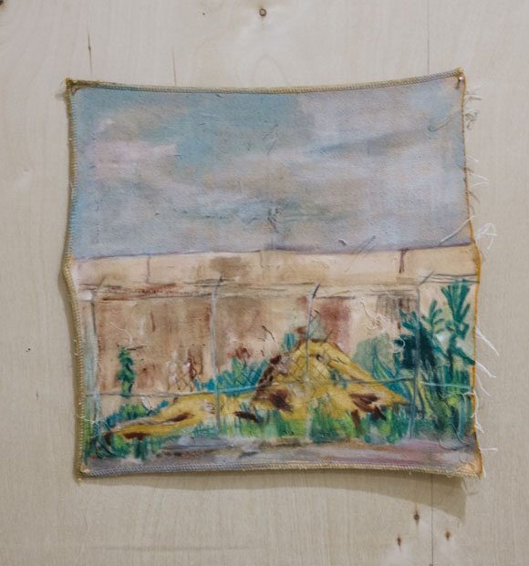 "Potential Dig Site: Carroll Gardens  This is a mound seen in Carroll Gardens in Brooklyn, New York in the summer of 2018. chalk and watercolor on fabric, 15""x15"", 2018"