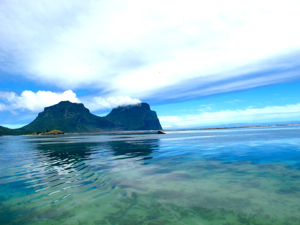 View from the Lord Howe Island lagoon, home of the world's southernmost coral reef.