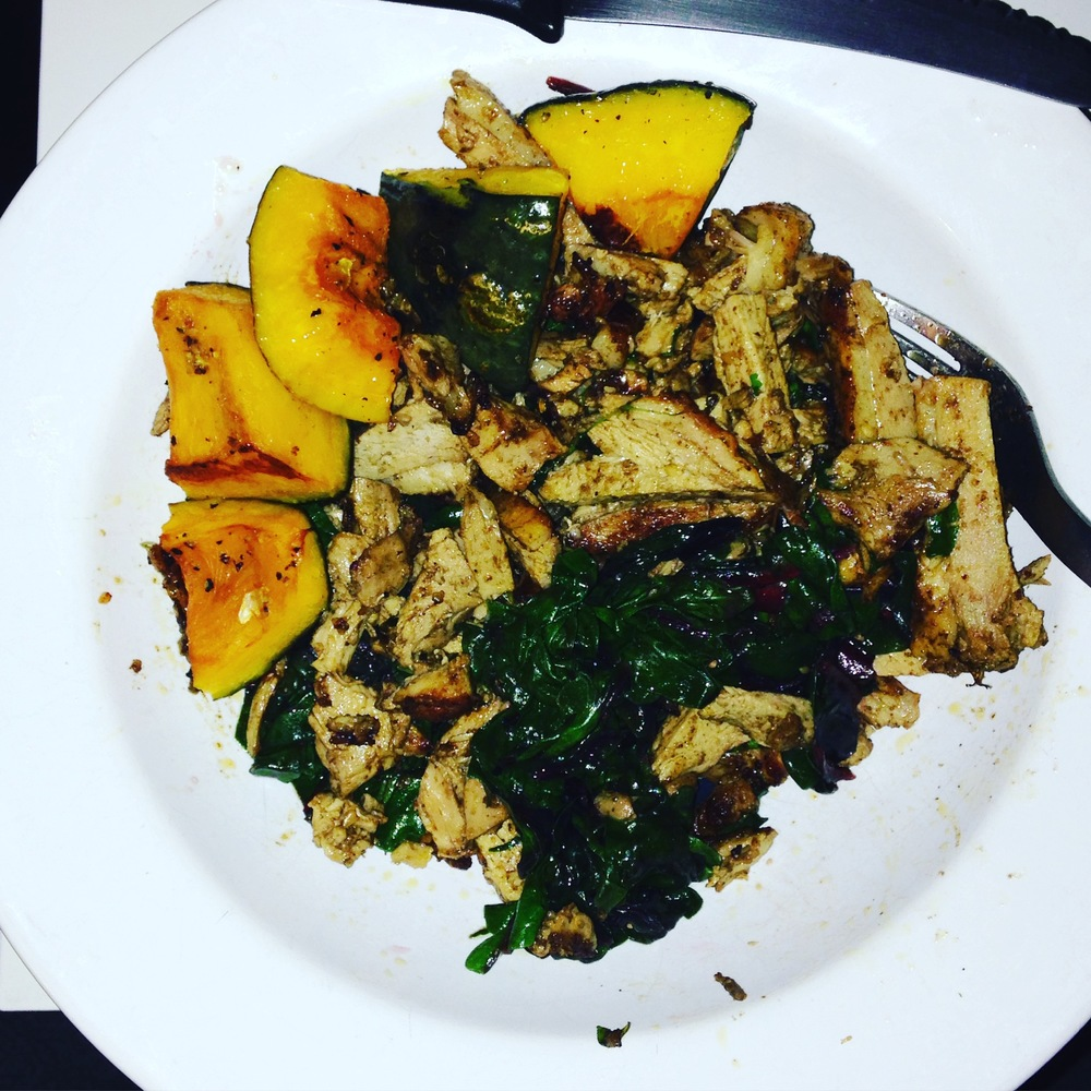 AIP, SCD, Low FODMAP, GAPS and Paleo friendly dinner: Kabocha Squash, Duck, Wilted Chard.