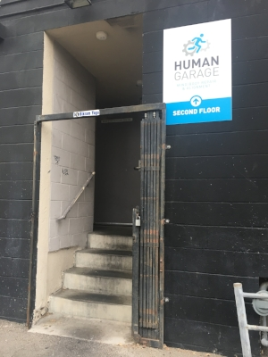 The entrance to Human Garage is in the alley off of Washington Blvd in Venice.