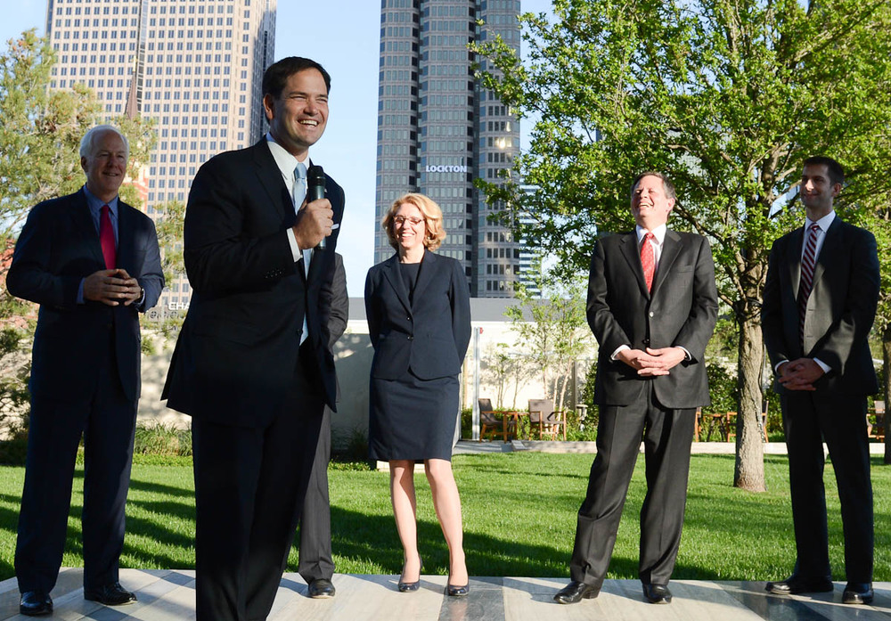 Senators John Cornyn, Terri Lynn Land, Steve Daines, and Tom Cotton look on as Senator Marco Rubio gives remarks to Legacy supporters in Dallas in April 2014.