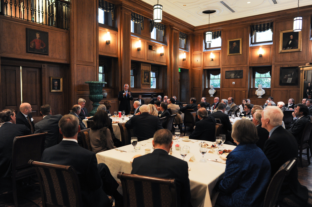 Senator Thom Tillis addresses the crowd at the Senate Battleground Fund Breakfast at Old Parkland in November 2014.